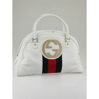 Gucci White Leather Vintage Web Interlocking G Bowling Bag