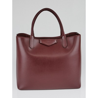 Givenchy Oxblood Calfskin Leather Antigona Whip-Stitch Handle Large Tote Bag