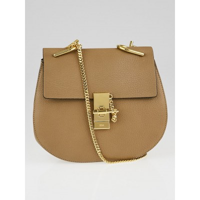 Chloe Chestnut Cream Pebbled Leather Small Drew Bag