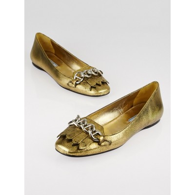 Prada Gold Leather Chain Loafers Size 7.5/38