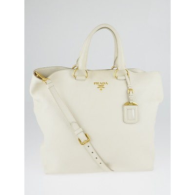 Prada Ivory Vitello Daino Leather Large Shopping Tote Bag