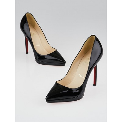 Christian Louboutin Black Patent Leather Pigalle Plato 120 Pumps Size 6.5/37