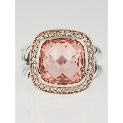 David Yurman 11mm Morganite with Diamonds and 18k Rose Gold Albion Ring Size 6.5