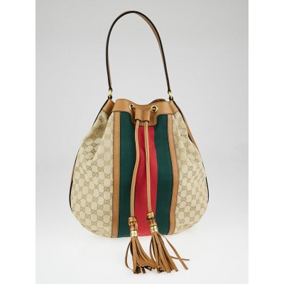 Gucci Beige GG Canvas Vintage Web Rania Drawstring Shoulder Bag