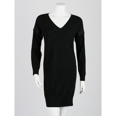 Burberry Black Merino Wool Lace Trimmed Long Sleeve Dress Size XS