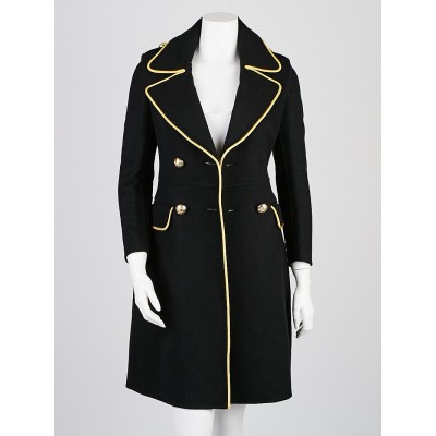 Burberry Runway Black Cashmere Double Breasted Coat Size 0/34