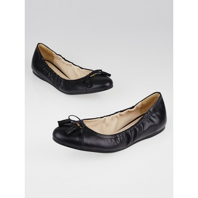 Prada Dark Blue Leather Tassel Bow Ballet Flats Size 9.5/40