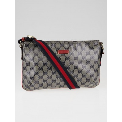 Gucci Blue/Grey GG Crystal Canvas Vintage Web Small Messenger Bag