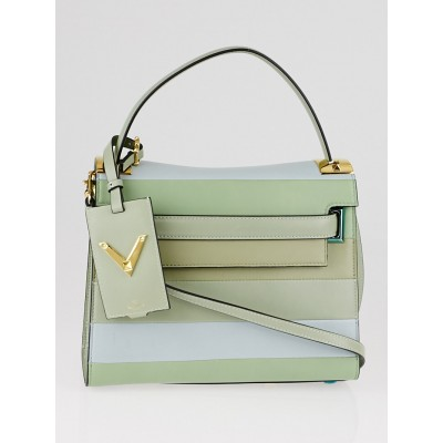 Valentino Green Multicolor Striped Lambskin Leather My Rockstud Top Handle Bag