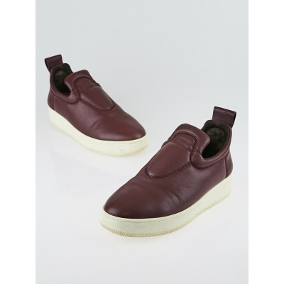 Celine Burgundy Leather Slip-On Sneakers Size 7.5/38