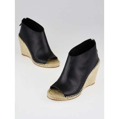Celine Black Leather Open-Toe Espadrille Wedges Size 7.5/38