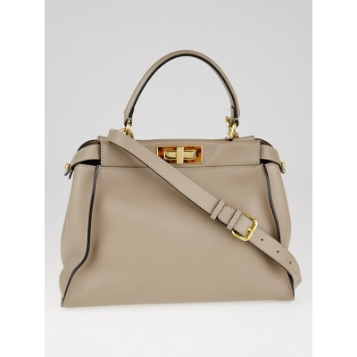 Fendi Turtledove Grained Leather Regular Peekaboo Bag 8BN290