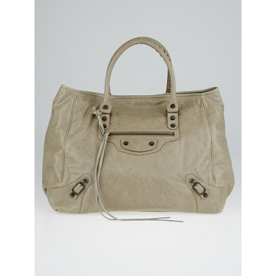 Balenciaga Papyrus Lambskin Leather Large Sunday Tote Bag