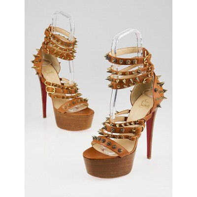 Christian Louboutin Brown Leather Botticellita 160 Spiked Platform Sandal Size 10/40.5