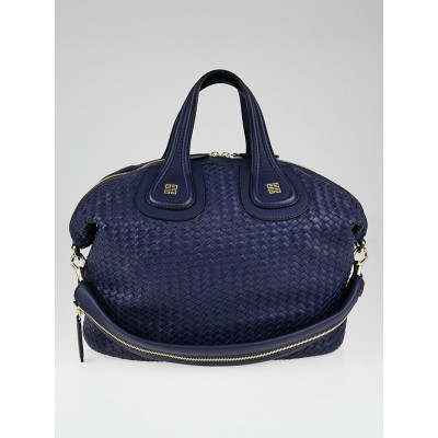 Givenchy Blue Woven Lambskin Leather Medium Nightingale Bag