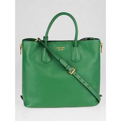 Prada Green Saffiano Leather Shopping Tote BN2727