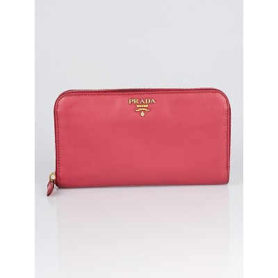 Prada Peonia Saffiano Metal Leather Zip Wallet