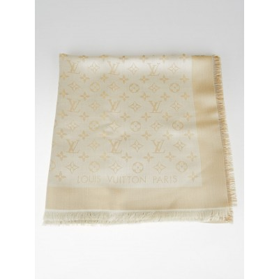 Louis Vuitton Gold/White Monogram Shine Shawl Scarf