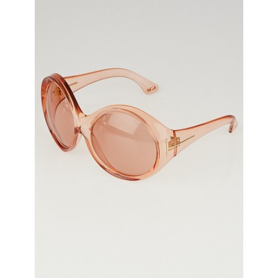 Tom Ford Pink Clear Acetate Oversized Ali Sunglasses
