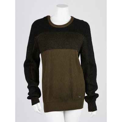 Burberry Green/Black Cotton/Wool Blend Knit Sweater Size M