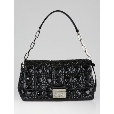 Christian Dior Black Cannage Quilted Patent Leather New Lock Flap Bag