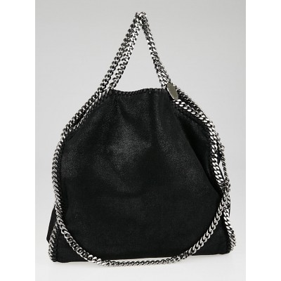 Stella McCartney Black Shaggy Deer Faux-Leather Falabella Fold Over Tote Bag