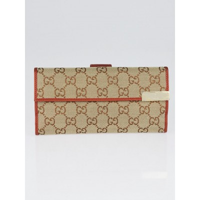 Gucci Beige/Bronze GG Canvas Trademark Continental Wallet