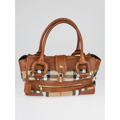 Burberry Brown Leather House Check Quilted Canvas Large Manor Bag