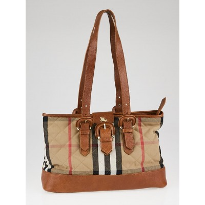 Burberry Brown Leather House Check Quilted Fabric Tote
