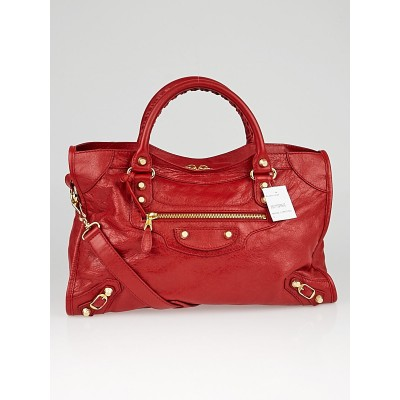 Balenciaga Red Lipstick Lambskin Leather Giant 12 Gold City Bag