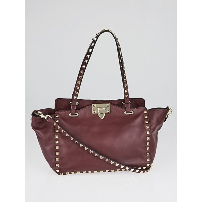 Valentino Burgundy Leather Rockstud Trapeze Small Tote Bag