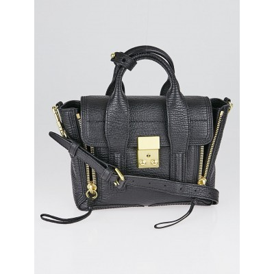 3.1 Phillip Lim Black Shark Embossed Leather Mini Pashli Satchel Bag