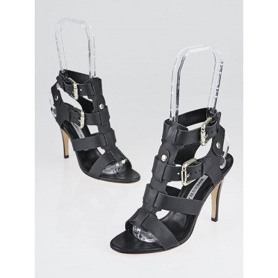 Manolo Blahnik Black Oceailono Double Buckle Sandals Size 5/35.5
