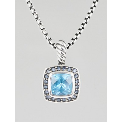 David Yurman 7mm Blue Topaz and Sapphire Petite Albion Pendant