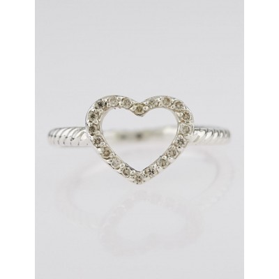 David Yurman Sterling Silver and Diamond Cable Collectibles Heart Ring Size 6