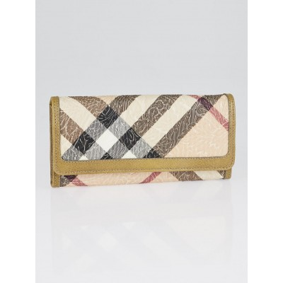 Burberry Supernova Embossed Check Coated Canvas Molly Beige Continental Wallet