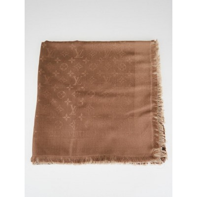 Louis Vuitton Taupe Ombre Shine Monogram Silk/Wool Shawl Scarf