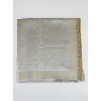 Louis Vuitton Gold/Grey Monogram Shine Shawl Scarf