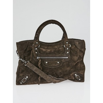 Balenciaga Brown Suede Baby Daim Motorcycle City Bag