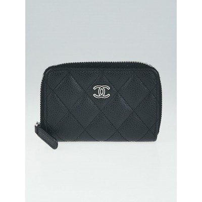 Chanel Black Quilted Caviar Leather O-Zip Coin Purse