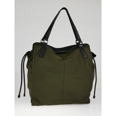 Burberry Green Nylon Tote Bag