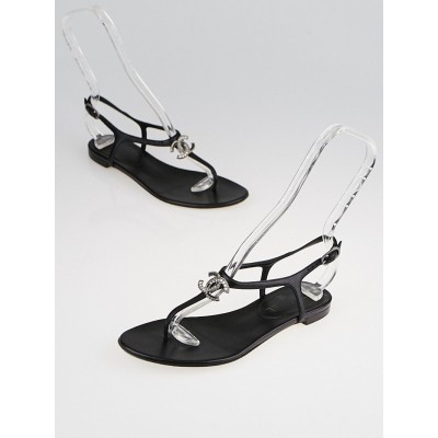 Chanel Black Leather Crystal CC T-Strap Thong Sandals Size 5.5/36