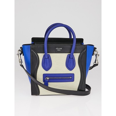 Celine Tricolor Calfskin Leather and Canvas Nano Luggage Bag