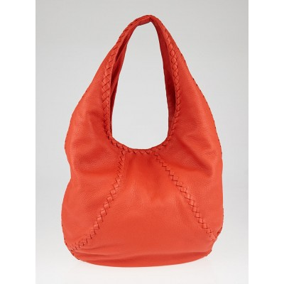 Bottega Orange Cervo Leather Baseball Hobo Bag