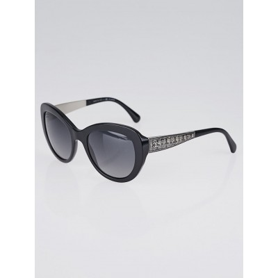 Chanel Black Acetate Frame Butterfly Signature Sunglasses-5346
