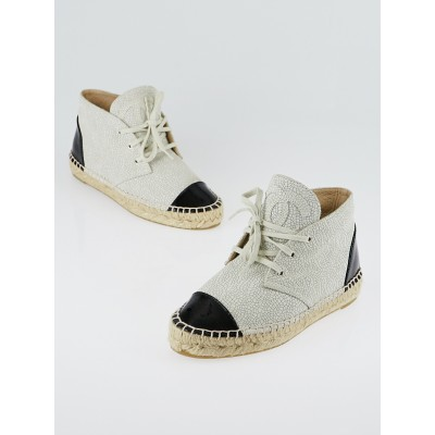Chanel Light Beige Crackle Leather and Black Patent Leather CC Espadrille High Tops Size 4.5/35