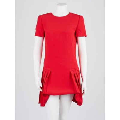 Alexander McQueen Lipstick Red Rayon Pleated Dress Size 8/42