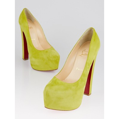 Christian Louboutin Chartreuse Suede Daffy 160 Pumps Size 6.5/37