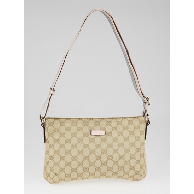 Gucci Beige/Pink GG Canvas Vintage Web Small Messenger Bag