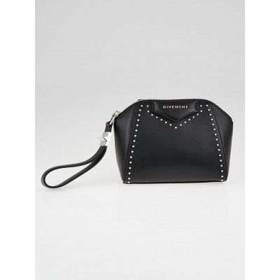Givenchy Black Smooth Studded Leather Antigona Wristlet Bag